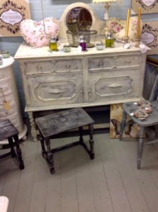 Black Shabby chic. French style side table.