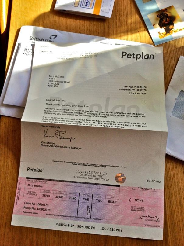 Petplan Insurance Cheque